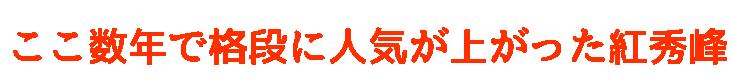 ここ数年で格段に人気が高くなった紅秀峰